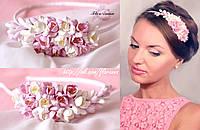 """""""Бело-розовые фрезии"""" обруч/веночек для волос ручной работы из полимерной глины, фото 1"""