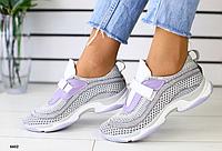Кроссовки дышащие серые с белым и лиловым, фото 1