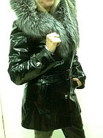 Дубленка женская кожа/мех с капюшоном и мехом лисы