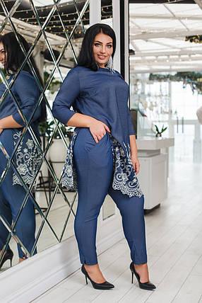 Джинсовый костюм двойка: туника+брюки, фото 2