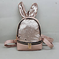 Рюкзак с ушками,  Рюкзак с паетками, Рюкзак женский оптом, рюкзак из кожзама оптом, фото 1