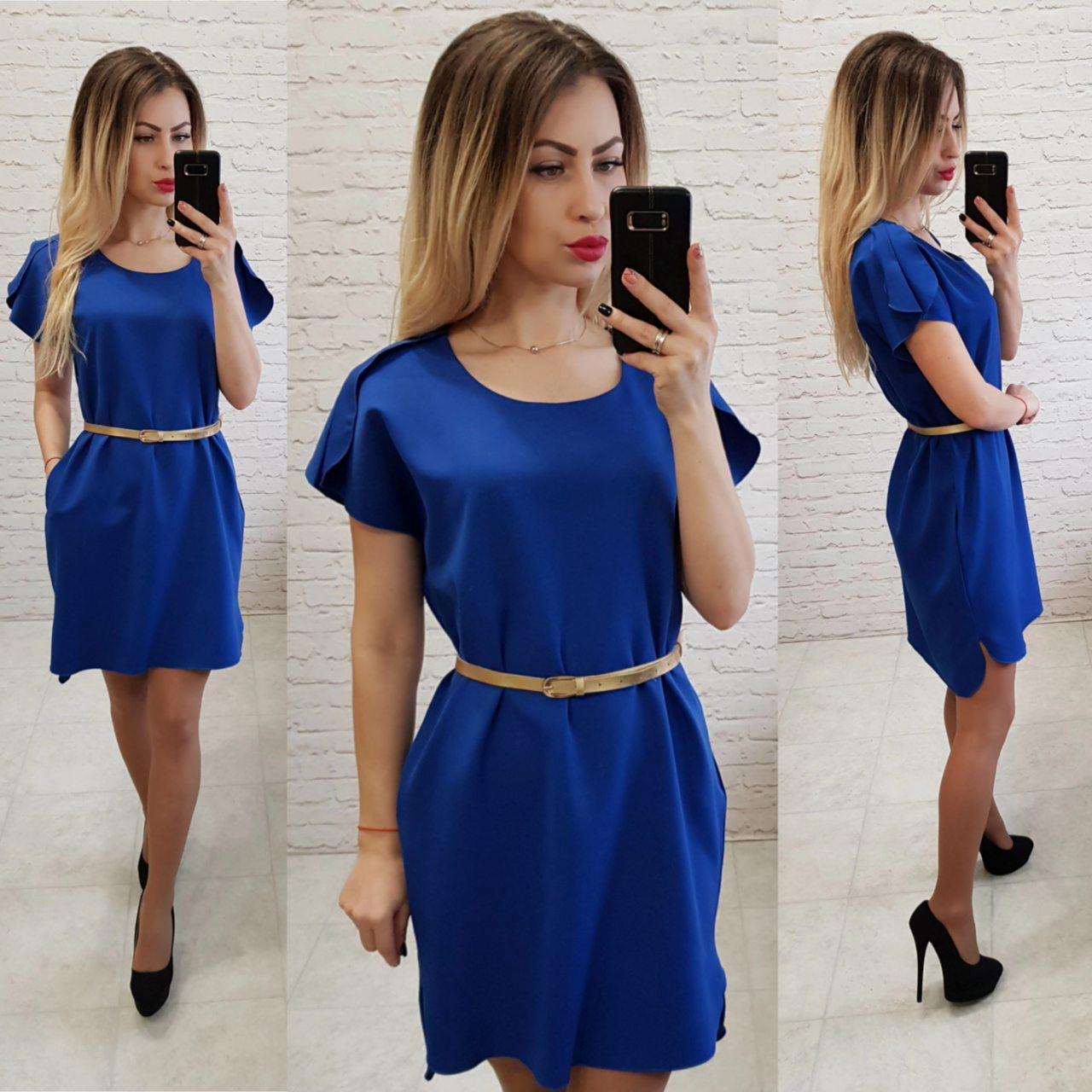 Платье свободное с удлинённой спинкой арт. 815 ярко синий / электрик