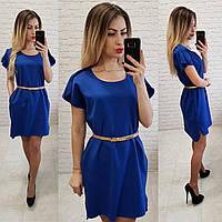 Платье свободное с удлинённой спинкой арт. 815 ярко синий / электрик, фото 1