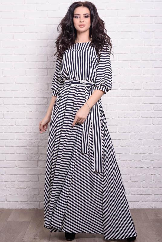 Длинное приталенное платье Ванесса, полоска