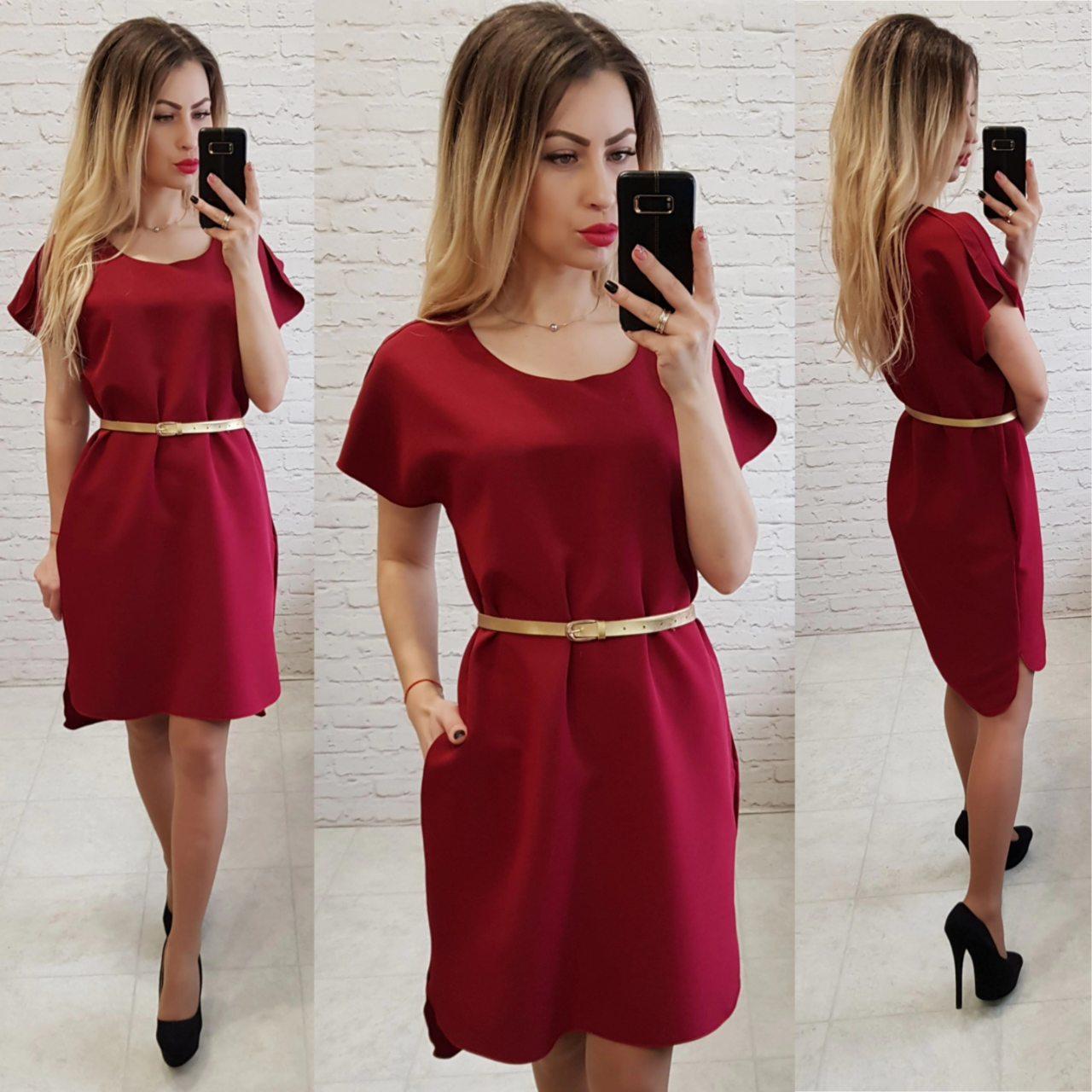 Платье свободное с удлинённой спинкой арт. 815 вишня / марсала
