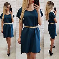 760bee98188 Платье свободное с удлинённой спинкой арт. 815 сине - зеленый
