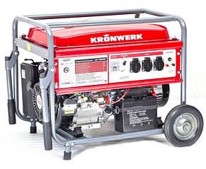 Генератор бензиновый KRONWERK LK 7500 E, 6.5 кВт, 220 В/50Гц, 25 л, электрический запуск