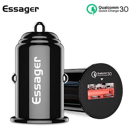 Автомобильное зарядное устройство Essager QC 3.0 USB Car Charger 3A (Ченое, один USB-порт), фото 2