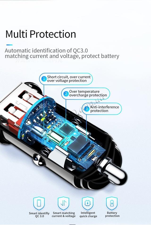 Автомобильное зарядное устройство Essager QC 3.0 USB Car Charger 3A Ченое, один USB-порт