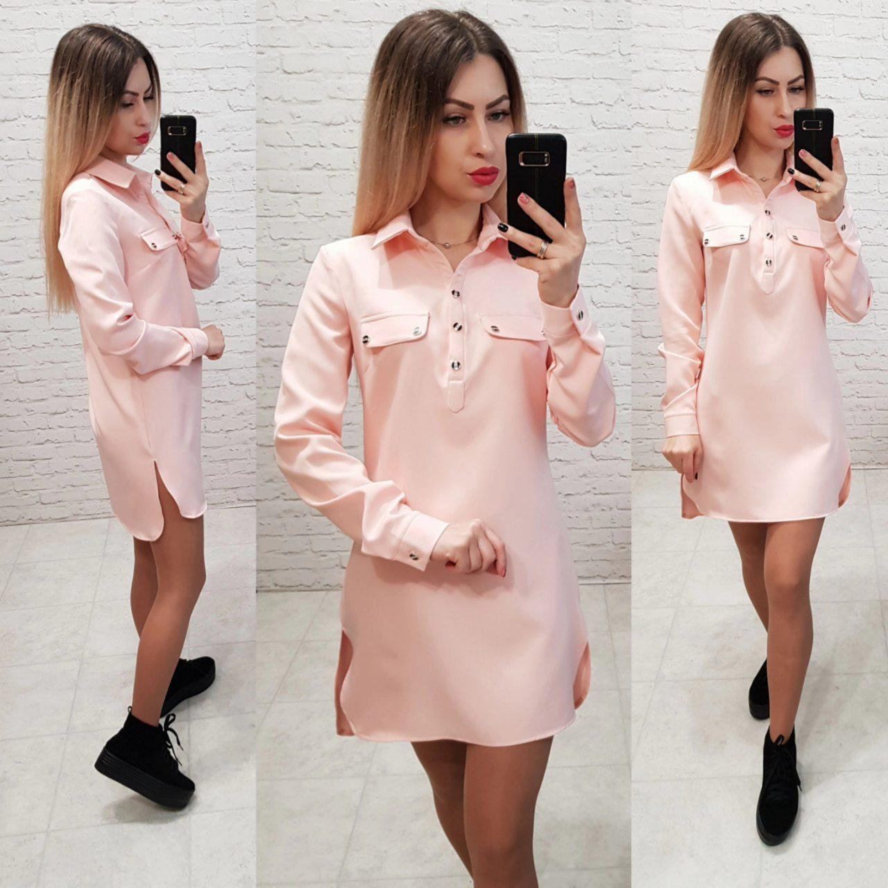 Платье - рубашка арт. 825 розовая пудра