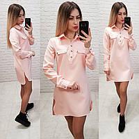 Платье - рубашка арт. 825 розовая пудра, фото 1