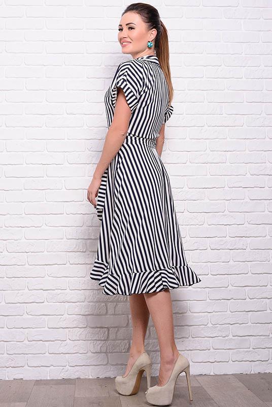 Платье с коротким рукавом Бланка, в полоску