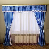 Набор для зала, гостиной ламбрекен + две шторы Монро