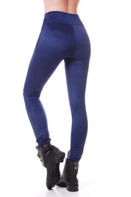 """Женские модные замшевые лосины тонкие однотонные с высокой талией леггинсы """"Basic"""" синие"""