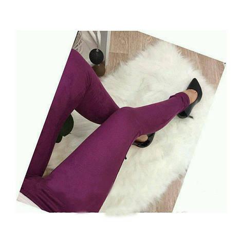 """Жіночі модні жіночі замшеві тонкі однотонні з високою талією легінси """"Basic"""" сині, фото 2"""