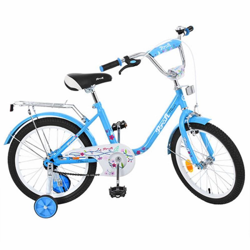 Детский двухколесный велосипед для девочки PROFI 18 дюймов Flower, голубой L1884
