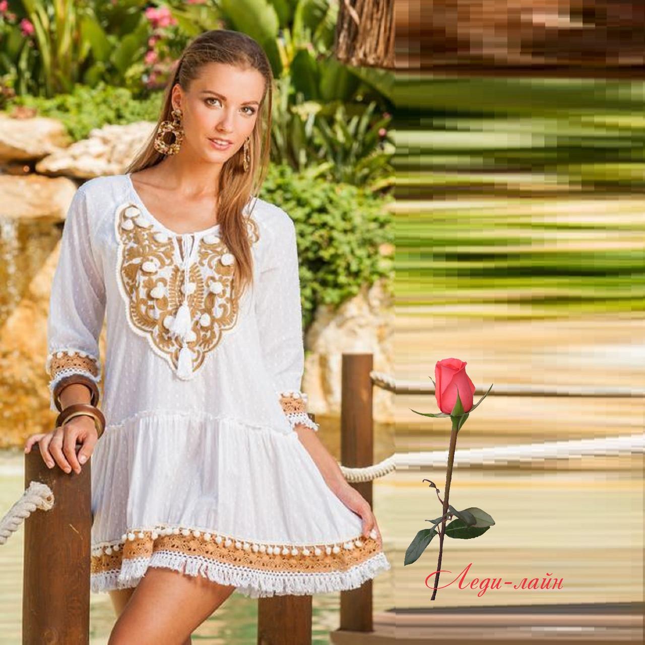 4092ad064e1 Хлопковая белая туника с вышивкой LO 1373  продажа