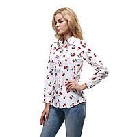 Рубашка женская с принтом вишенка длинный рукав