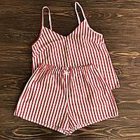 Пижама женская  с шортами в красную полоску