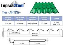 Металодахівка ANTIB на замовлення від виробника Термастил - Якісний Китайський метал 0.45 мм. глянець