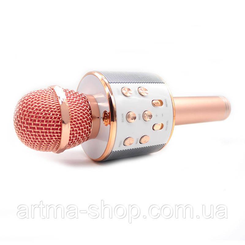 Беспроводной каракое микрофон WSTER 858 Розовый с золотом