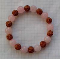 Браслет из рудракши и розового кварца 10 мм премиальное качество