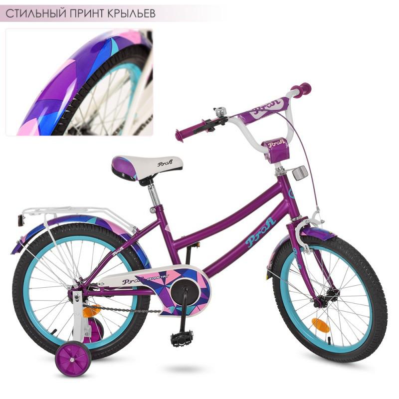 Детский двухколесный велосипед для девочки PROFI 18 дюймов, цвет фиолетовый, Y18161 Geometry