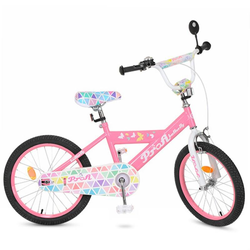 Детский двухколесный велосипед для девочки PROFI 20 дюймов цвет розовый, Butterfly L20131