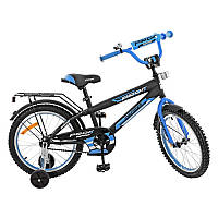 Детский двухколесный велосипед PROFI 18 дюймов черно - синий мат,  G1853