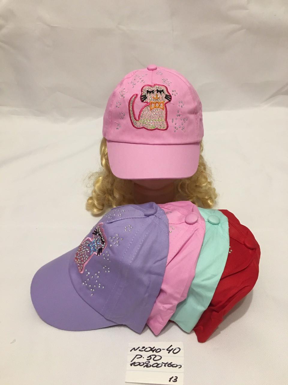 Летняя детская кепка с стразами для девочки Котик р.50 100% cotton