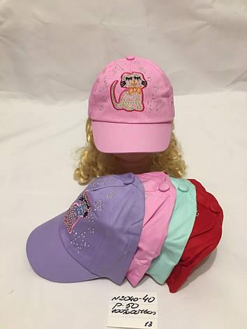 Летняя детская кепка с стразами для девочки Котик р.50 100% cotton, фото 2