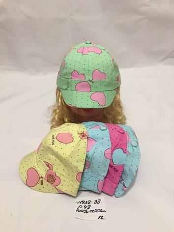Детская летняя кепка  для девочки Сердечки р.48 100% cotton, фото 2