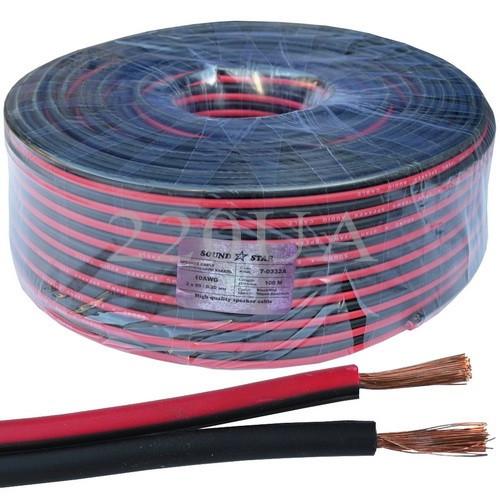 Кабель живлення низьковольтний Sound Star 2x3.0мм2 CCA червоно-чорний 100м
