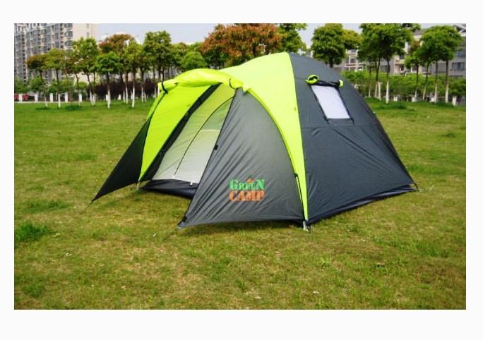 Палатка туристическая трех местная GreenCamp 1011-2, на 2 входа с тамбуром, двухслойная, размеры 330х215х150 с