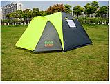 Палатка туристическая трех местная GreenCamp 1011-2, на 2 входа с тамбуром, двухслойная, размеры 330х215х150 с, фото 5