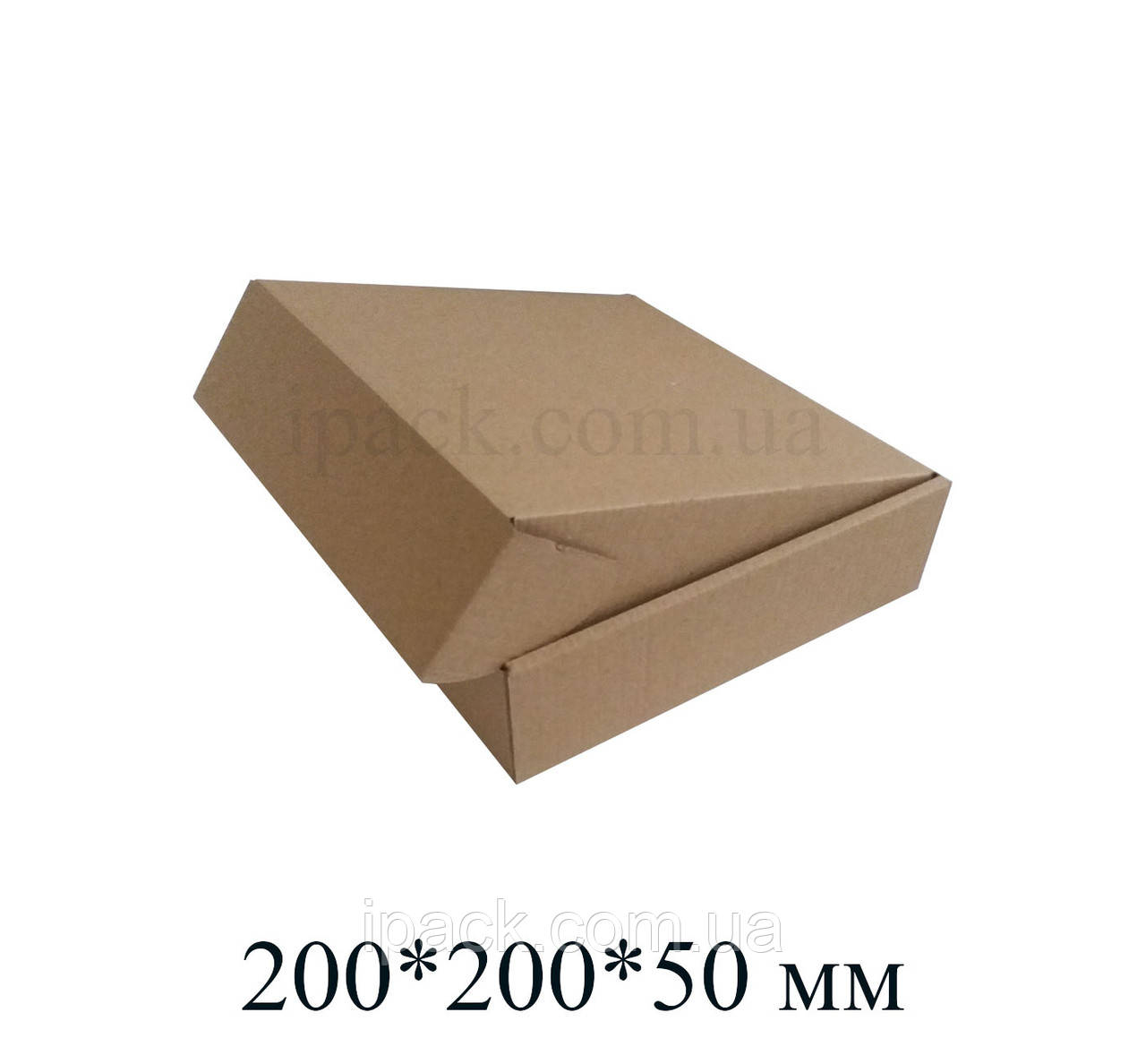 Коробка картонная самосборная, 200*200*50, мм, бурая, крафт, микрогофрокартон