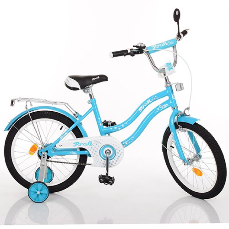 Детский двухколесный велосипед для девочки PROFI 14 дюймов голубой Star L1494