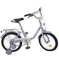 Детский двухколесный велосипед PROFI 16 дюймов для девочки Flower, фиолетовый, L1683