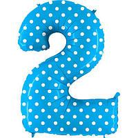 """Фольгированный шар цифра """"2"""" пастель голубая в горох"""