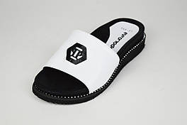 Шлепанцы белые кожаные на платформе Evromoda 045