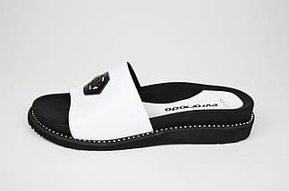 Шлепанцы белые кожаные на платформе Evromoda 045, фото 2