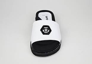 Шлепанцы белые кожаные на платформе Evromoda 045, фото 3