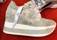 Кроссовки сникерсы замшевые серые на высокой платформе