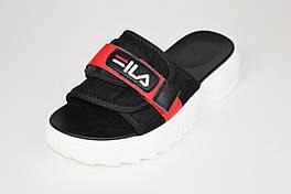 Шлепанцы текстильные черные на платформе Lonza 69981
