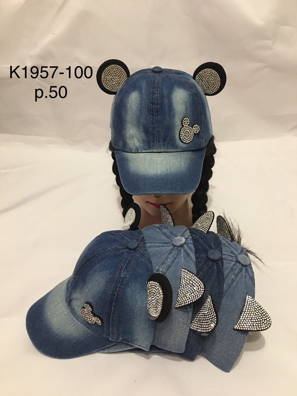Джинсова кепка з вушками для дівчинки оздоблена стразами р. 50