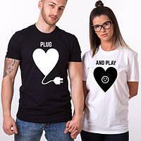 Парные футболки. Мужская и женская футболка. Plug and Play
