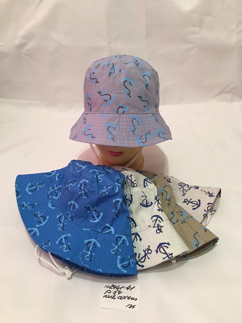 Летняя детская панамка для мальчика Якорь р.54 100% cotton