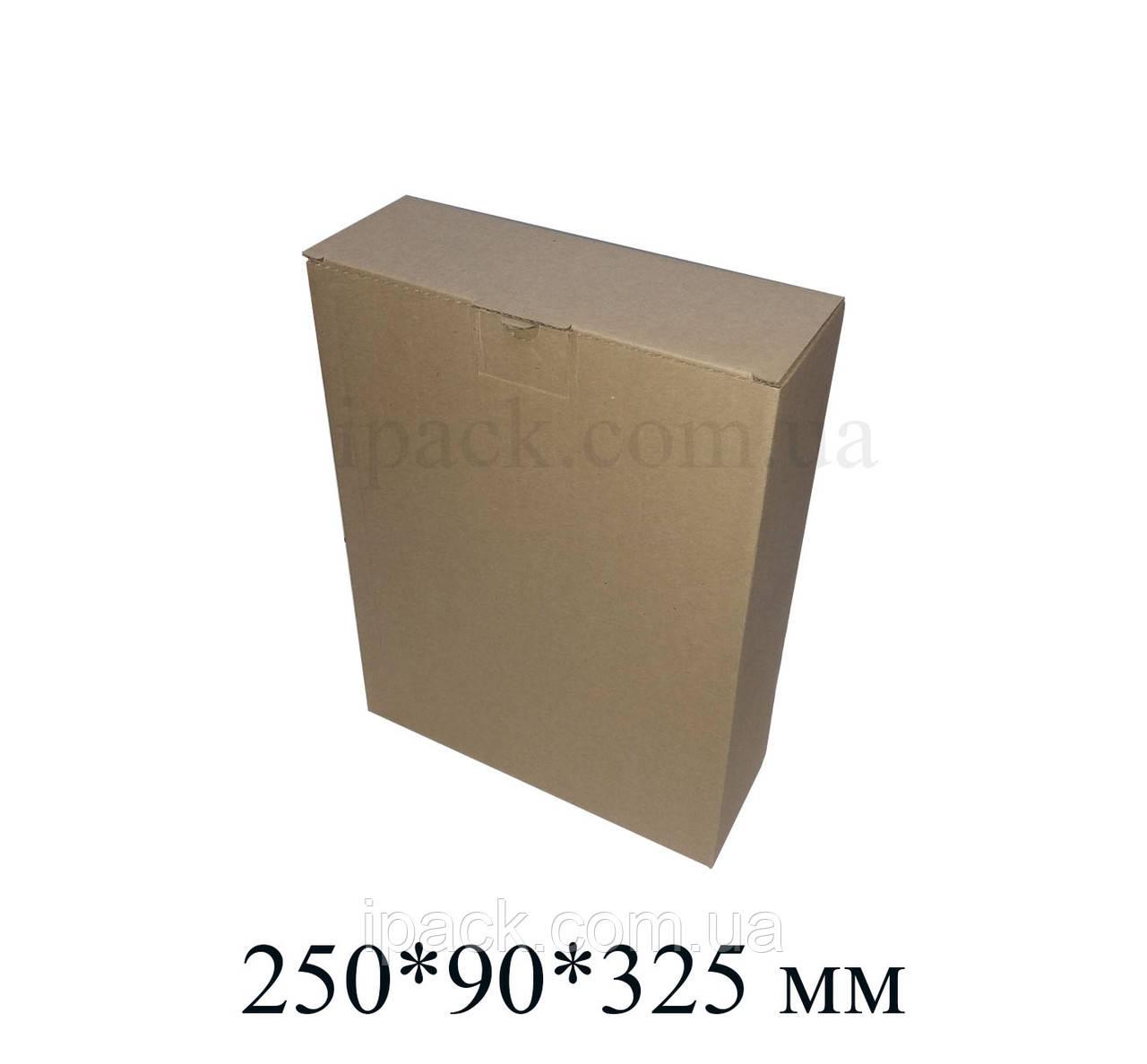 Коробка картонна самозбираюча 250*90*325 мм бура крафт мікрогофрокартон