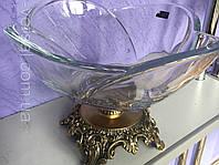 Ваза для фруктов Bohemia на бронзовой ножке, фото 1