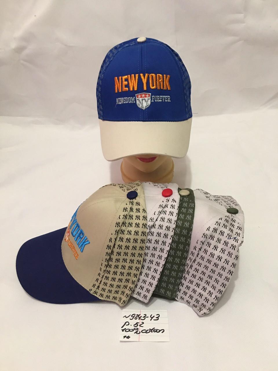 Летняя стильная детская кепка  для мальчика New York р.52 100% cotton